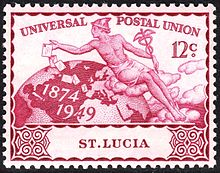 Mercury on a St. Lucia stamp from 1949